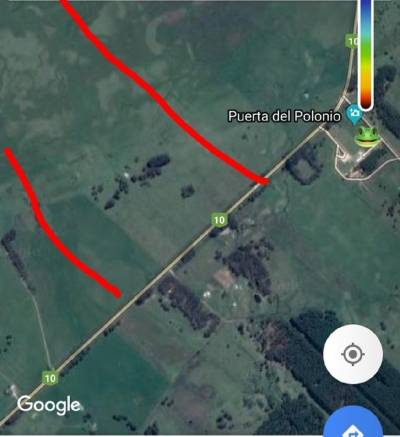 Campo de 100 has frente a ruta 10 y a la puerta del Polonio.